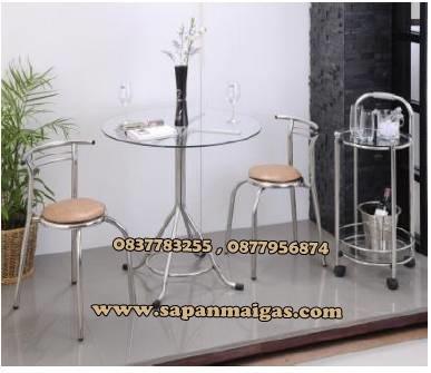 โต๊ะสแตนเลสหน้ากระจก (ค๊อฟฟี่ช๊อป) 80 เซนติเมตร +เก้าอี้ 2ตัว
