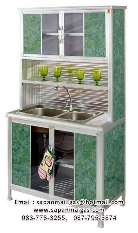 ตู้ครัวพร้อมซิ้งค์ล้างจานแสตนเลส 2 หลุมที่พัก 1เมตร ตรา Lion