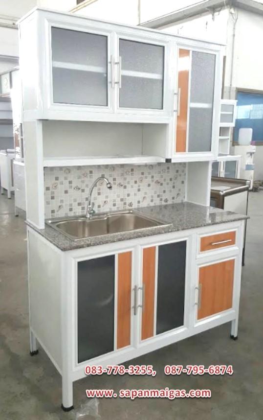 ตู้ครัวพร้อมอ่างล้างจาน (ขอบเจียร์) 1.2 เมตร ท็อปหินแกรนิต มีลิ้นชัก รุ่น BEE