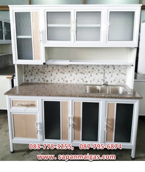 ตู้ครัวพร้อมอ่างล้างจาน (ขอบเจียร์) 1.6 เมตร ท็อปหินแกรนิตมีลิ้นชัก รุ่น BEE