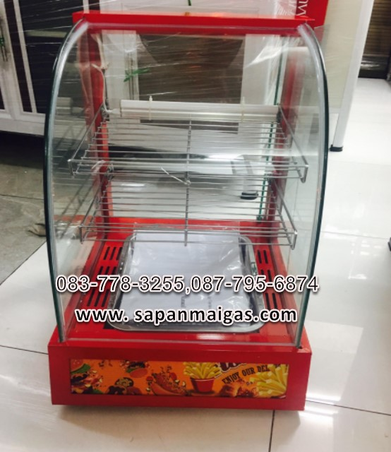 ตู้อุ่นอาหารสีแดง 2 ชั้น ขนาด 38 ซม