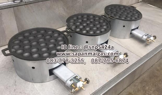 เตาทำขนมครกใช้แก๊สขนาด 28 หลุม  พร้อมฝาโครงเหล็ก 3 หัวเตา