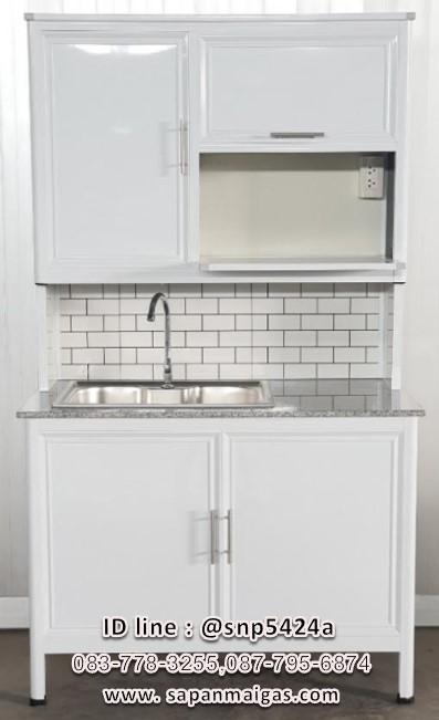 ตู้ซิ่้งค์ล้างจาน 1 หลุมขนาด 100ซม รุ่น EXCIT ขอบเจียร์ท๊อปหินแกรนิต มีที่วางไมโคร