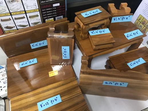ตั่งไม้ โต๊ะยอดขนาดต่างๆ ฐานรองพระ ทำจากไม้สัก ( หน่วยเป็นนิ้ว ) 5