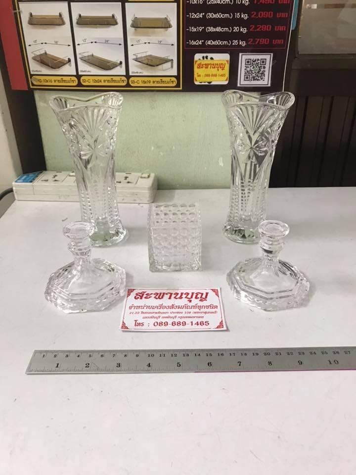 จัดชุดเซ็ท - แจกันแก้ว  กระถางธูป เชิงเทียนแก้วคริสตัล รุ่นมาตรฐาน 1
