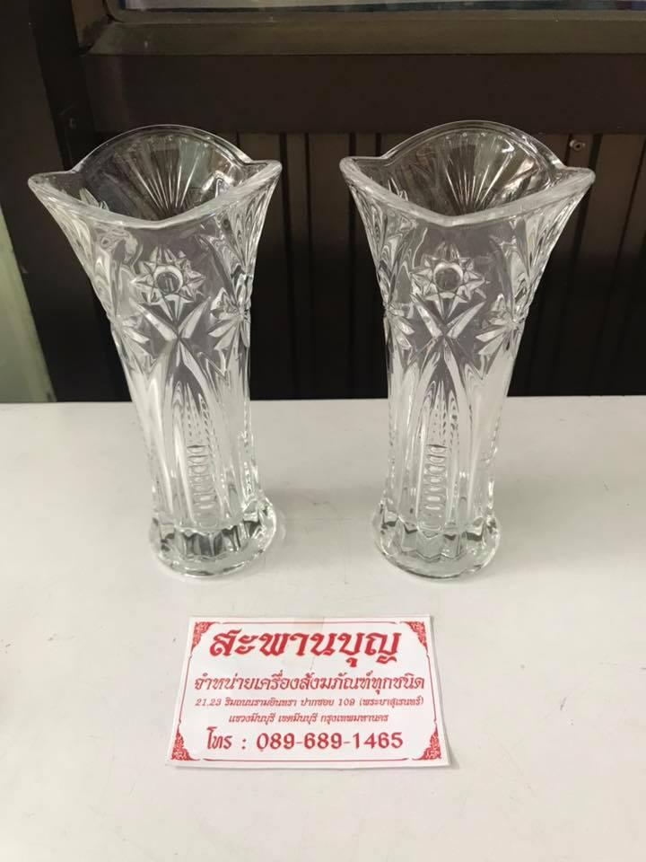 จัดชุดเซ็ท - แจกันแก้ว  กระถางธูป เชิงเทียนแก้วคริสตัล รุ่นมาตรฐาน 7