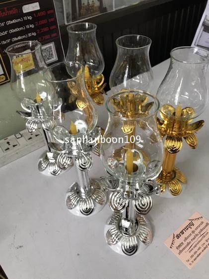 ขายเป็นคู่ - โคมเทียนแก้ว ( สำหรับจุดถวายพระพร/ เวียนเทียน / จุดเวลาไฟดับ  ฯลฯ ) โคมแก้ว 7
