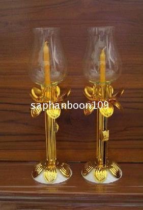 ขายเป็นคู่ - โคมเทียนแก้ว ( สำหรับจุดถวายพระพร/ เวียนเทียน / จุดเวลาไฟดับ  ฯลฯ ) โคมแก้ว