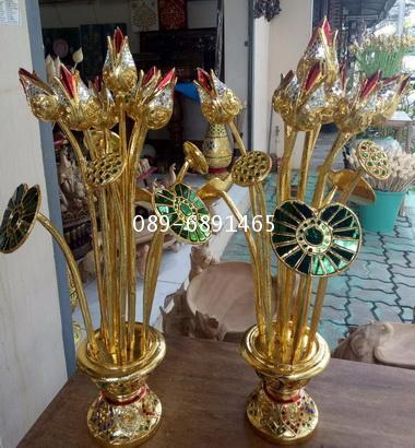 ดอกบัวไม้ งานแกะสลัก ลงรักปิดทองประดับกระจก งานรุ่นสวย 6