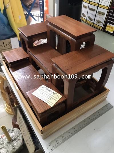 ชุดโต๊ะไม้สัก วางบนตู้เอกสาร  หมู่ 7  ขนาด 8นิ้ว * 4 นิ้ว