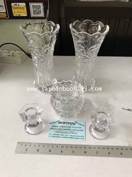 จัดชุดเซ็ท - แจกันแก้ว  กระถางธูป เชิงเทียนแก้วคริสตัล รุ่นใหญ่ 1