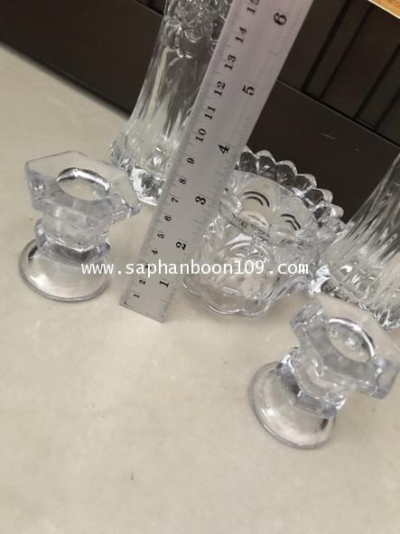 จัดชุดเซ็ท - แจกันแก้ว  กระถางธูป เชิงเทียนแก้วคริสตัล รุ่นใหญ่ 3