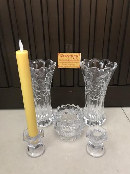 จัดชุดเซ็ท - แจกันแก้ว  กระถางธูป เชิงเทียนแก้วคริสตัล รุ่นใหญ่ 8
