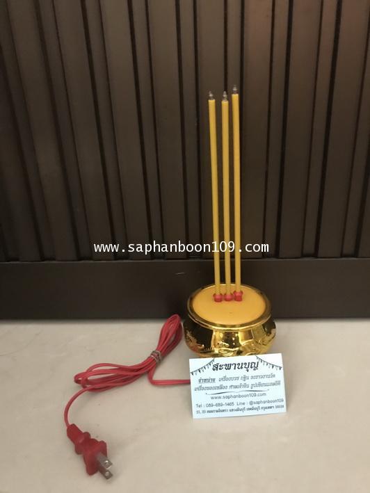 ธูปไฟฟ้า 3 ดอก + เทียนคู่สีเหลือง  ตราหงษ์มังกร 2