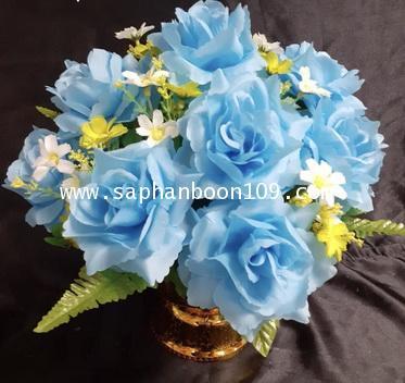 พานดอกมะลิวันแม่ และ พานดอกไม้สีฟ้าสีขาว 6