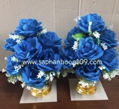 พานดอกมะลิวันแม่ และ พานดอกไม้สีฟ้าสีขาว 9