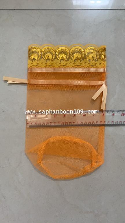 8*12 นิ้ว ถุงตาข่าย สำหรับใส่บาตร ถุงสังฆทาน  ตักบาตร โบรูดในตัว 8*12 นิ้ว