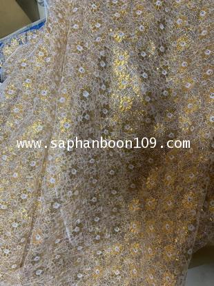 ผ้าลูกไม้ ลายสวยงาม  ลูกไม้ดิ้นเงินดิ้นทอง 2