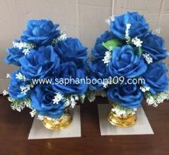 พานดอกกุหลาบสีเหลือง / สีม่วง  / สีขาว / สีชมพู /  สีฟ้า ( พานดอกไม้ ) 6