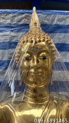 พระพุทธรูป พระทองเหลืองแท้ หน้าตัก 19 นิ้ว ขัดเงา  และ พ่นทอง 4