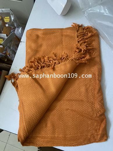 ผ้าคลุมไหล่ ผ้าคลุมบ่าพระสงฆ์ สีพระราชทาน ใช้เป็นผ้าห่มได้  ( ผ้าฝ้าย )