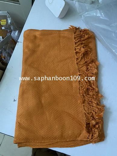 ผ้าคลุมไหล่ ผ้าคลุมบ่าพระสงฆ์ สีพระราชทาน ใช้เป็นผ้าห่มได้  ( ผ้าฝ้าย ) 1