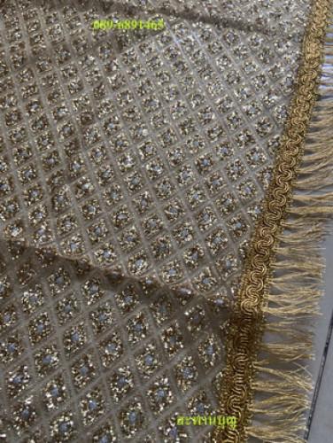 ผ้าห่มพระประธาน ผ้ากากเพชร ( ผ้านำเข้า )ผ้าเพชร  ขอบทอง  สไบทอง 8