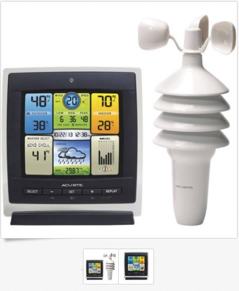 สถานีอากาศแสดงผลด้วยจอสี AcuRite Pro พร้อมความเร็วลAcuRite Pro Color Weather Station with Wind Speed