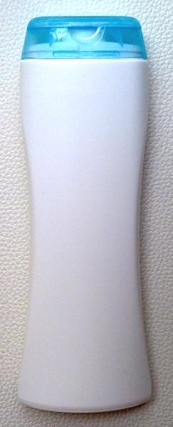 ขวดแชมพูสีขาว 250 มล.(ทรงนาฬิกาทราย)+ฝาใส (สีฟ้า) (บรรจุ 100 ชิ้น)