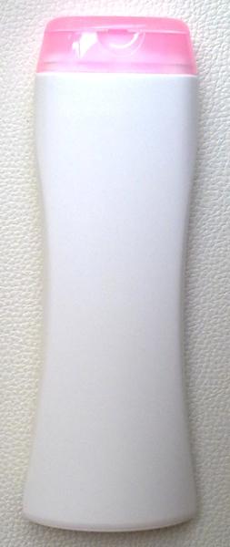 ขวดแชมพูสีขาว 250 มล.(ทรงนาฬิกาทราย)+ฝาใส (สีชมพู) (บรรจุ 100 ชิ้น)