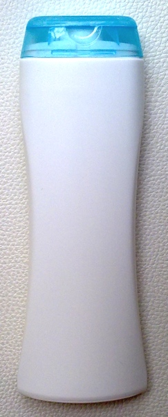 ขวดแชมพูสีขาว 250 มล.(ทรงนาฬิกาทราย)+ฝาใส (สีฟ้า) (บรรจุ 500 ชิ้น)