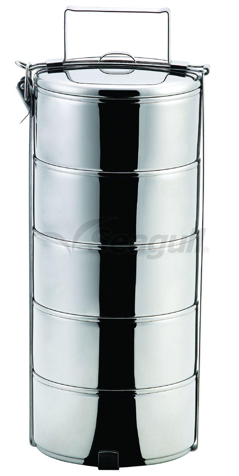 100350145 ปิ่นโตสเตนเลส 14 ซม. 5 ชั้น ตราซีกัล (นกนางนวล)