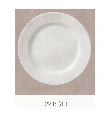22 B จานกลม ทรงตื้นมีขอบ 8 นิ้ว Flowerware