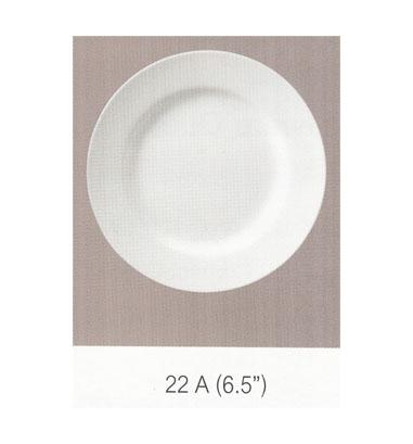 22 A จานกลม ทรงตื้นมีขอบ 6.5 นิ้ว Flowerware