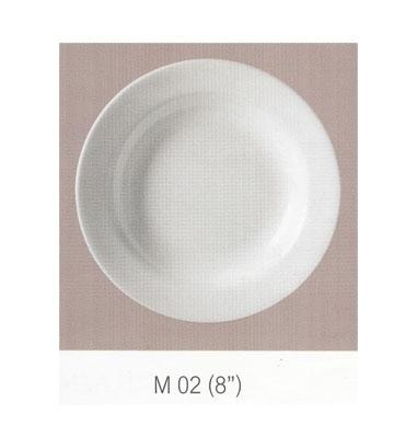 M 02 จานกลมทรงลึก 8 นิ้ว Flowerware