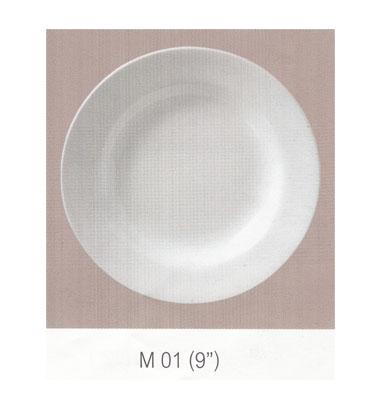 M 01 จานกลมทรงลึก 9 นิ้ว Flowerware