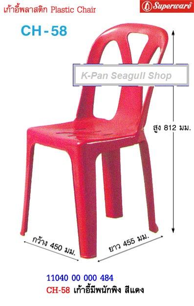 CH 58 เก้าอีพลาสติค มีพนักพิง  ตราซุปเปอร์แวร์ นกเพนกวิน