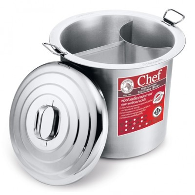 272453 หม้อก๋วยเตี๋ยว ตราหัวม้าลาย รุ่น Chef 45 ซม. 3 ช่อง (18 นิ้ว)