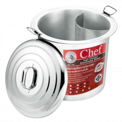 272454 หม้อก๋วยเตี๋ยว ตราหัวม้าลาย รุ่น Chef 45 ซม. 2 ช่องโค้ง (18 นิ้ว)