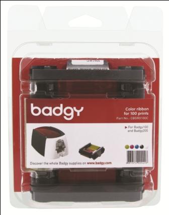 ชุดหมึก + บัตรพลาสติก PVC ( ขนาด 0.76 ) 100 ใบ For Badgy 100 , Badgy 200