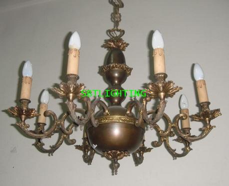 โคมไฟ ยุโรปงานทองเหลืองเก่าอิตาลี 1