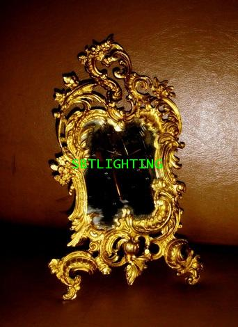 กระจกตั้งโต๊ะโบราณ เนื้อทองสำริด งานอิตาลี Rococo Style