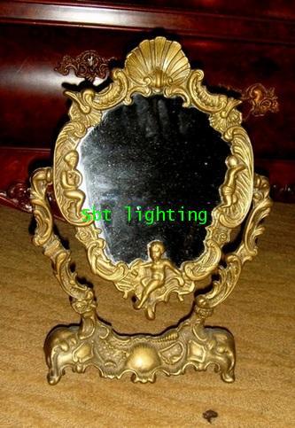 กระจกตั้งโต๊ะ เนื้อทองสำริด งานอิตาลี Rococo Style