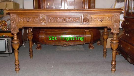 โต๊ะทำงานโบราณ ไม้โอ๊คแกะสลัก คศ.1880  งานฝรั่งเศส 1