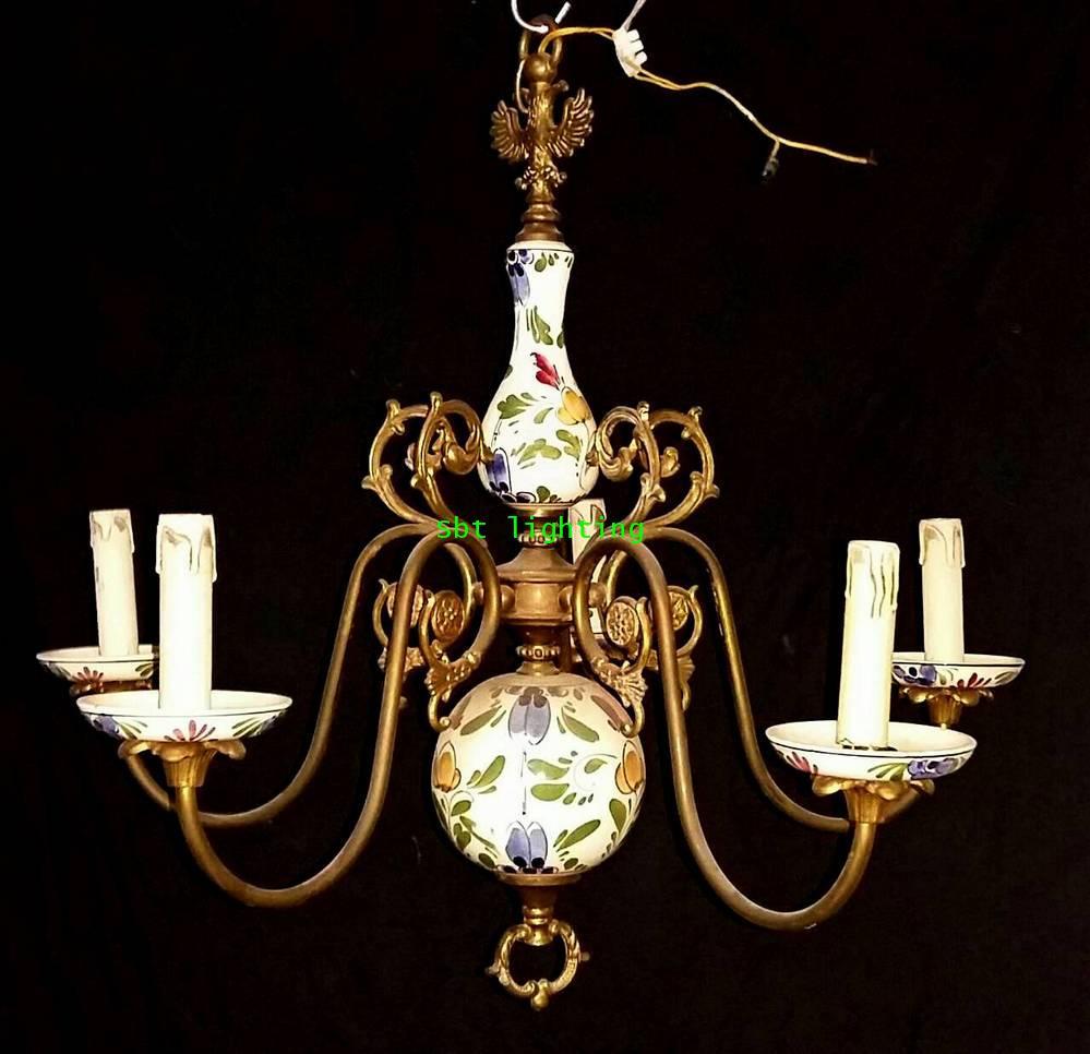 โคมไฟ Porcelain ยุโรปงานทองเหลืองเก่าอิตาลี