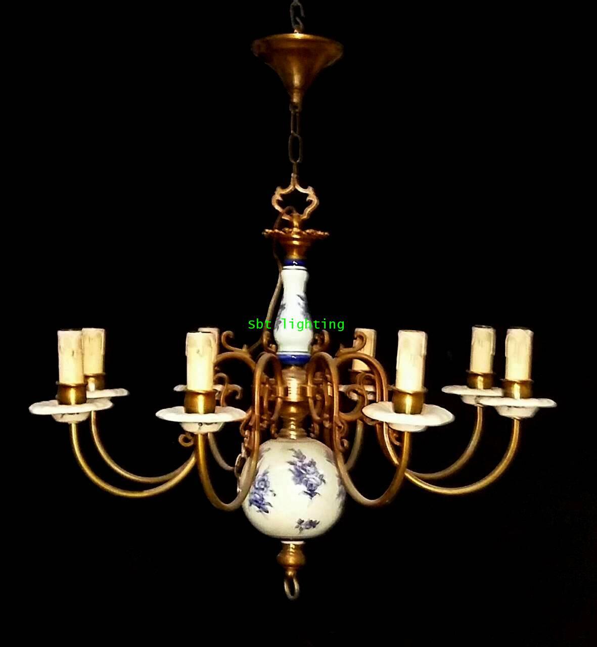 โคมไฟ Porcelain ยุโรปงานทองเหลืองเก่าเบลเยี่ยม