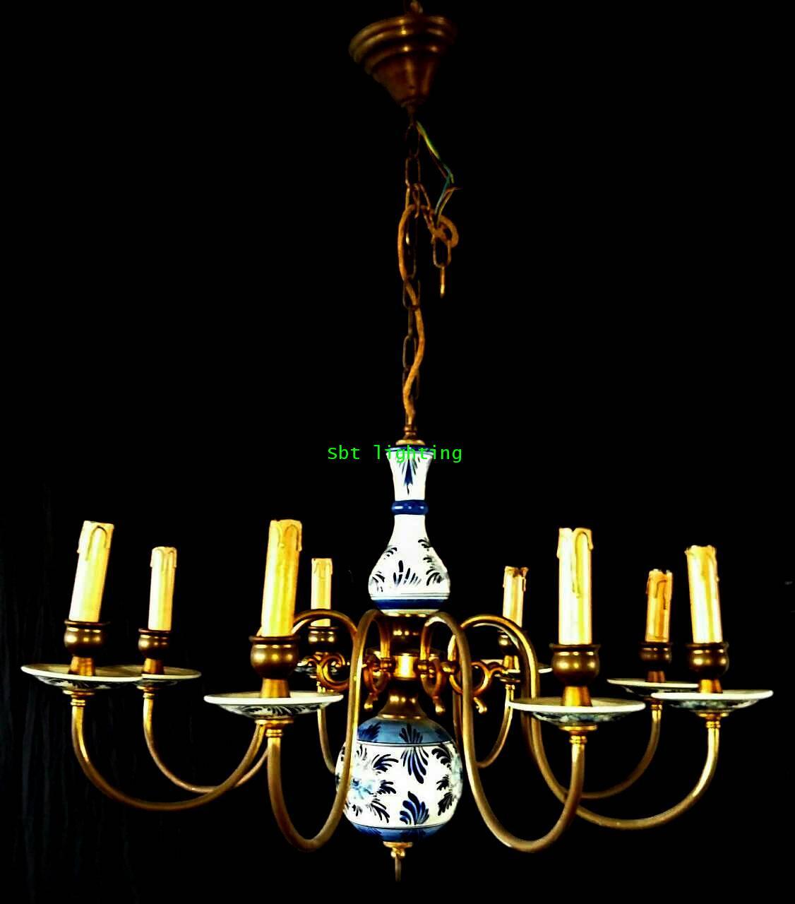โคมไฟ Porcelain ยุโรปงานทองเหลืองเก่าเยอรมัน