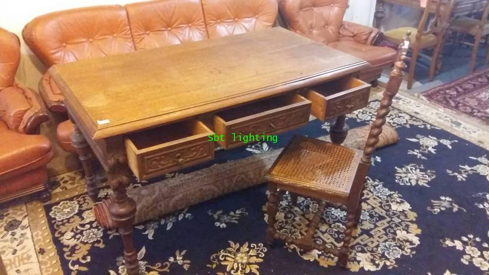 โต๊ะทำงานโบราณ ไม้โอ๊คแกะสลัก คศ.1880  งานฝรั่งเศส 4