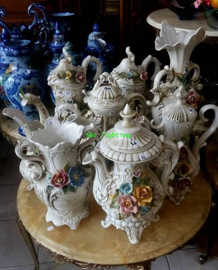 ชุดแจกัน และกา Porcelain  Italian เซ็ทใหญ่งานBassano