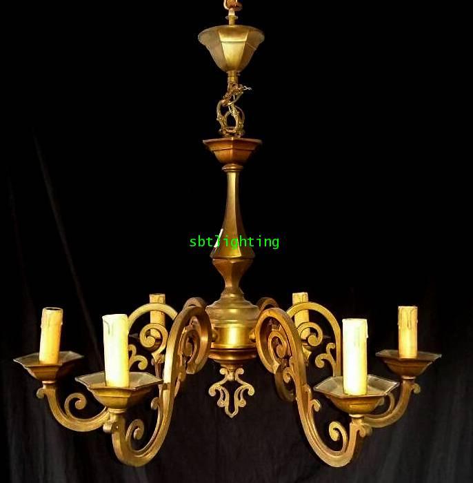 โคมไฟ ยุโรปงานทองเหลืองเก่าอิตาลี
